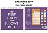 Keep Calm Mum Knows Best Family Planner Kalender 2019 + Blank Kühlschrankmagnet