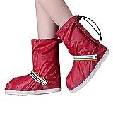 DFDO Chaussures de vélo couvrir, bottes de pluie imperméables chaussures couvre pour les femmes-hommes noir anti glissement réutilisable lavable bottes de neige de pluie couverture avec bande réfléchi