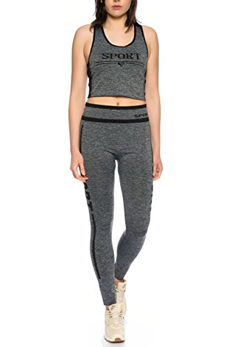 Dress Sheek Damen Fitness Sport Work Out Yoga Trainingsanzug Jogginganzug 2er Set Top Hose Schwarz - DS051