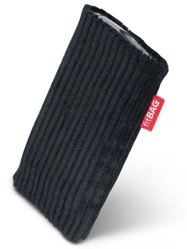fitBAG Retro Schwarz Handytasche Tasche aus Cord-Stoff mit Microfaserinnenfutter für Samsung SGH-X670