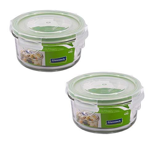 GlassFood - Frischhaltedose Set von Glasslock. Recyclebares, Gehärtetes Kalk- Natronglas. BPA-Freier Plastikdeckel mit Clip-Verschluss + Silikonring. (2X Rund 0.4L)