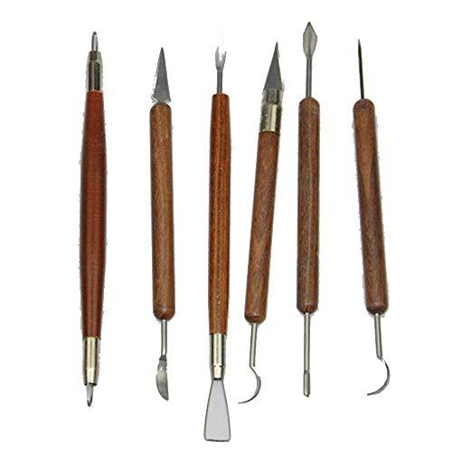 Fliyeong Ton Sculpting Tools Holz Keramik Schnitzen Meißel Set Ton Skulptur Keramik Modellierwerkzeuge Für Gravierkünstler 6 Teile/Satz -