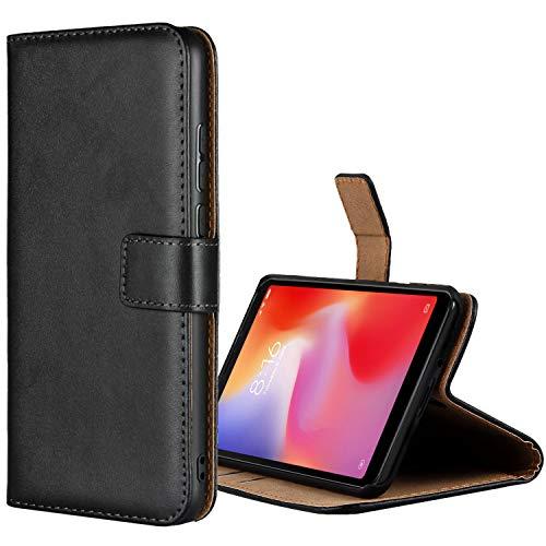 Aopan Xiaomi Redmi 6A Hülle, Flip Echt Ledertasche Handyhülle Brieftasche Schutzhülle für Xiaomi Redmi 6A, Schwarz