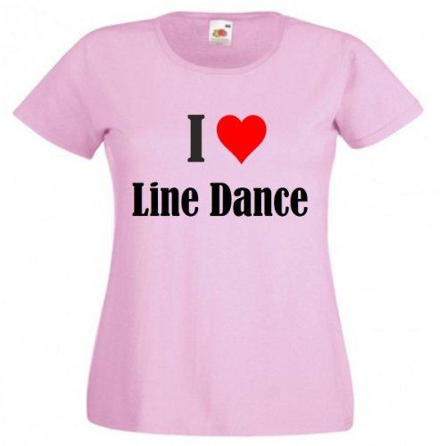 """T-Shirt """"I Love Line Dance"""" für Damen Herren und Kinder in Pink Pink"""