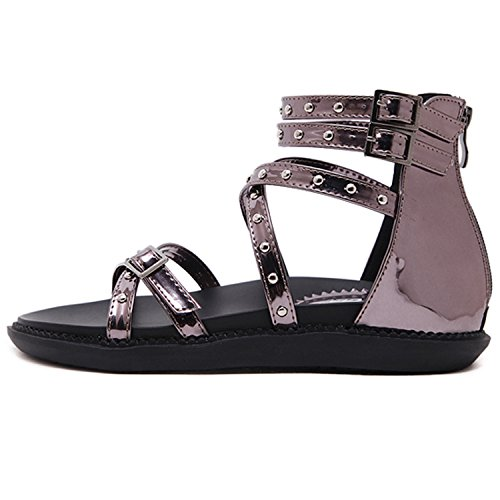 Oasap Women's Open Toe Rivet Buckle Strap Flat Gladiator Sandals Black