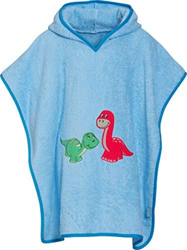 Playshoes Jungen Frottee-Poncho Dino Bademantel, Blau (Bleu 17), One size (Herstellergröße: S)