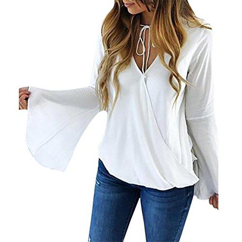 Moonuy Damen Long Flare Sleeve Pullover, Weiß Chiffon V-Ausschnitt Strap Basic Bluse Casual Wolloberteil Regular Solid T-Shirt, Mädchen Elegant Slim Bluse (Weiß, EU 38/Asien L) (Damen Slim Blusen Solid)