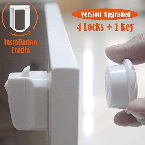 2.Gen Kindersicherheit Magnetschloss,Canwn Baby Sicherheit Magnetschlösser für Schränke, Schubladen 4 Magnet Schlösser und 1 Schlüssel Unsichtbarer Magnetisches Sicherheitsschloss