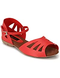 Rimezs Red Solid Flat Casual Buckle Closure Sandal For Women And Girls