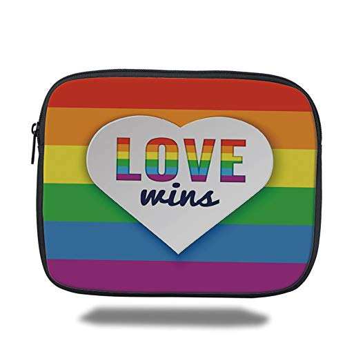 Tablet Bag for Ipad air 2/3/4/mini 9.7 inch,Pride Decorations,Rainbow Flag Stripes Heart Symbol with Love Wins Text LGBT Culture Colors,Multicolor,Bag -