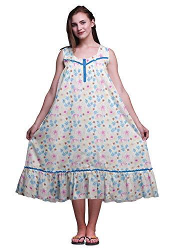 Bimba Mittelblau Blume Wildblumen & Kamelie Bedruckte Baumwoll-Nachthemden für Frauen ärmelloses Kleid Nachtwäsche Maxikleid XXX-Large - Trocknen Wildblumen