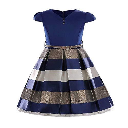 YiWu Mädchen Prinzessin Tutu Kostüm Kleid Tanzen Cosplay Geburtstag Party Kostüm (Color : Navy Blue, Size : 4-5Years)