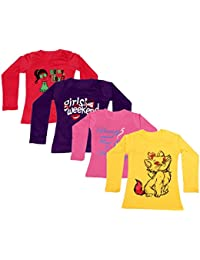 IndiWeaves Girls Cotton Full Sleeves Printed T-Shirt (Pack of 4)