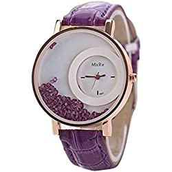 WINWINTOM Leather Quicksand Rhinestone Quartz Bracelet Wrist Watch Purple