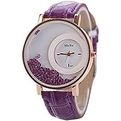 WINWINTOM Leather Quicksand Rhinestone Quartz Bracelet Wrist Watch Purple