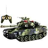 Toykart Remote Control War Tank, Full Function, Rechargeable, Big Size with Light and Gun Sound