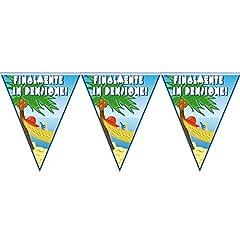 Idea Regalo - Festone BANDIERINE in plastica per il PENSIONATO o per la PENSIONATA - Banner Ghirlanda decorativo per la PENSIONE - con scritta