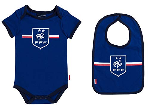 Equipe de FRANCE de football Body + Bavoir bébé garçon FFF - Collection Officielle 12 Mois