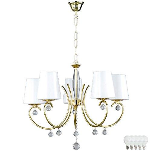 Kronleuchter Messing Glas Hänge Lampe Pendel Leuchte Wohn Zimmer Luster im Set inkl LED Leuchtmittel