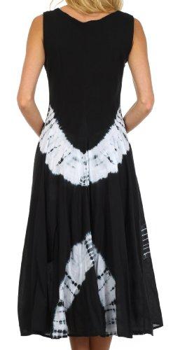 Sakkas Zwei-Wege-Verschleiß windsong tie dye Kleid für Damen Schwarz