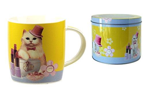 Générique Mug Chat en porcelaine dans boîte métal