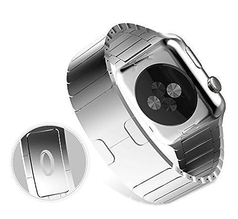 Apple Watch ArmBand (42mm) - Trop Saint® Verstellbarem Edelstahl Uhrenarmband mit Doppelfalz verschluss - Silber - Stahlband Adapter, Wristband Strap, Uhrenarmband Für iWatch Edition/Sport