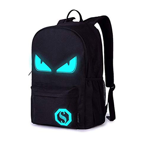 Schultaschen, Anime Luminous Backpack Laptoptasche Handtasche Canvas Schulter Daypack für Coole Mädchen Jungen Teens Outdoor Rucksack (Schwarz-böses Auge)
