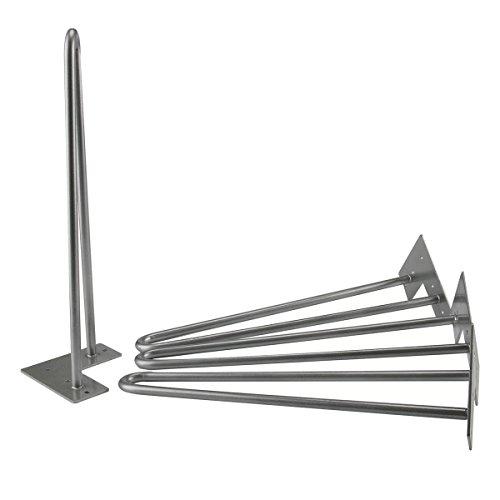Cusfull 4 x Hairpin Tischbeine aus Rohstahl Zwei-Stange Vintage Haarnadel Möbelfüße für Couchtisch, Schreibtisch, Nachttisch, Kaffeetisch - Mittelalter Moderner Stil Silber 40cm