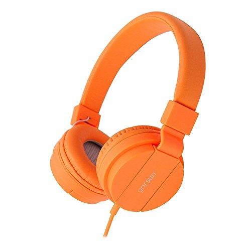 ONTA® gorsun Kopfhörer Kinder Faltbarer Leichte Headsets für Kinder On Ear Audio Kopfhörer für Kinder Handys Smartphones iPhone Laptop Computer mp3/4 Kinder Kopfhörer- Orange