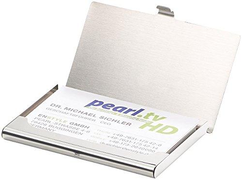 PEARL Visitenkartenetui: Ultradünnes Visitenkarten- & Kreditkarten-Etui, rostfreier Edelstahl (Visiten und Kreditkarten Etui)
