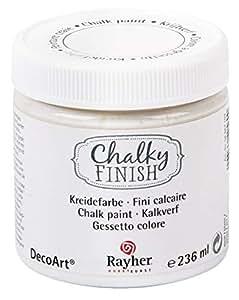 Rayher vernice a gesso Chalky Finish, 236 ml bianco a base d€™acqua vintage shabby chic decorazioni mobili oggetti fai da te