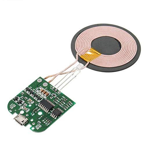 Leiterplatte Universal Hochleistung DC5V High-Efficient Kabelloses Ladegerät QI Standard für Smartphone Coil Pcba DIY Mikro USB-Port Strapazierfähig (Grün) - Grün, Free Size -