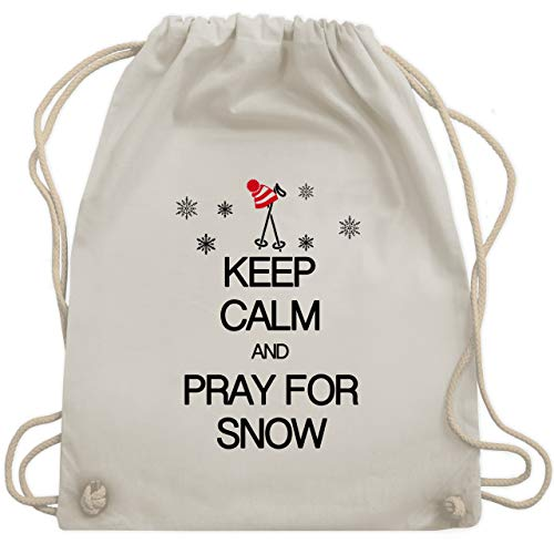 m and pray for snow - Unisize - Naturweiß - WM110 - Turnbeutel & Gym Bag ()