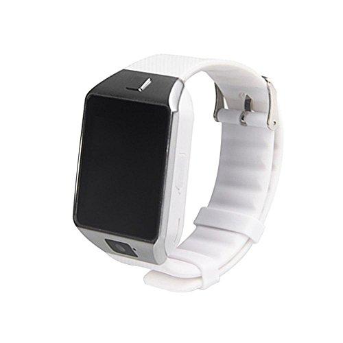KOBWA DZ09, smart watch wireless, con fotocamera, slot per SIM/scheda di memoria, compatibile con Android, IOS, Iphone, Samsung, HTC, LG Sony Blackberry Huawei Motorola, bianco