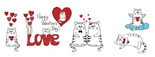 BFY DIY Abnehmbare Cute Little Love Katze Kätzchen Wand Aufkleber Home Decor Wandtattoo für Valentine 's Day -