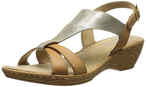 Bella Vita Gubbio Large Cuir Sandales Compensés Gold-Tan