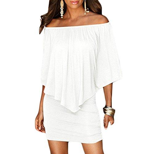 Frauen Mode Kurzarm Rundkragen Trägerlos Wort Schulter Rückenfrei Freizeitkleid Beachwear One Shoulder-Kleider Freizeitkleide Weiß