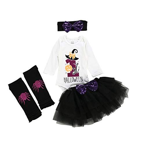 Frashing Babybody für Mädchen Langarm Neugeborenes Baby Mädchen Bekleidungsset Outfits Halloween Kostüm Langarm Strampler Overall + Tütü Röckchen + Stirnband + Beinwärmer 3-24 - Disney Zero Kostüm