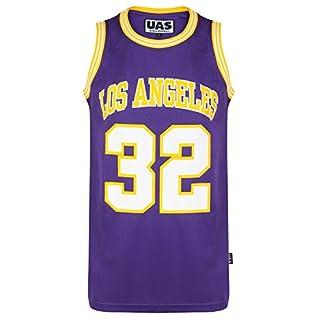 UrbanAllStars Herren American American Style Basketball Trikots Miami NY Chicago LA Brookly Unterhemd ärmellos Gr. L, Los Angeles Purple 32