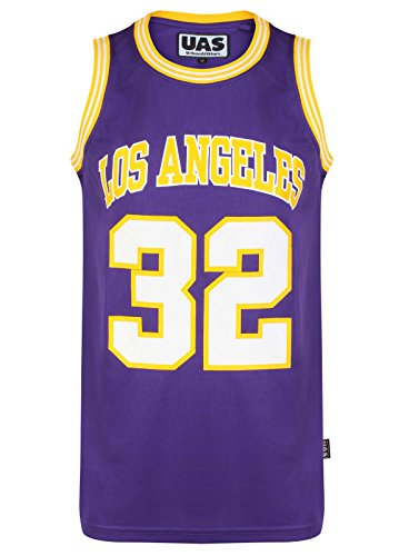 Mens American US Style Basketball Jerseys Miami NY Chicago LA Brookly Vests Tops Sleevless T Shirts (L, Los Angeles Purple 32)