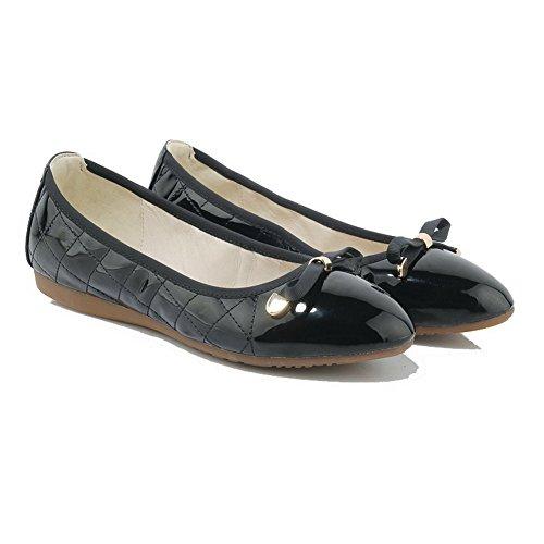 AgooLar Damen Ziehen Auf Rund Zehe Ohne Absatz Lackleder Rein Flache Schuhe Schwarz
