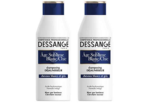 Dessange, Shampoo anti-giallo all'acido ialuronico per capelli bianchi e grigi, 250 ml, 2 pz.