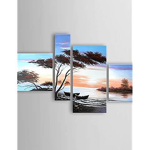 LAPS pintura al óleo conjunto paisaje costero de lienzo pintado a mano con 4 estirado enmarcado listo para colgar