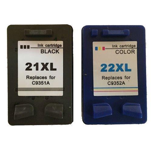 Daryo Cartridge HP 21XL / HP 22XL Ink Cartridges for Deskjet F2110, F2120, F2...
