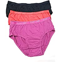 DAISY DEE Women's Cotton Solid/Palin Hipster Panty (Pack of 3): Petals (Colors May Very)