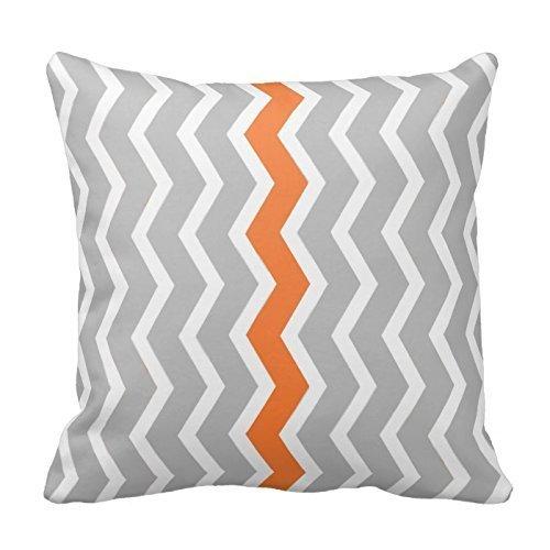 Grau und Weiß mit Orange Sägezahn Streifen Kissen Classic Chevron Streifen Muster für Deko Reißverschluss Kissen Schutzhülle