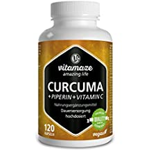 Cápsulas de cúrcuma + curcumina piperina altamente concentrada + vitamina C, 120 cápsulas veganas,