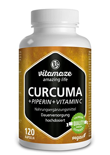 Curcuma Kapseln hochdosiert | Piperin + Curcumin + Vitamin C | 120 Kapseln Kurkuma vegan für 6 Wochen | Made-in-Germany | ohne Magnesiumstearat