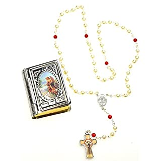 Ars Bavaria Delicate Rosary Shimmering Wax Beads, with Guardian Angel Tine
