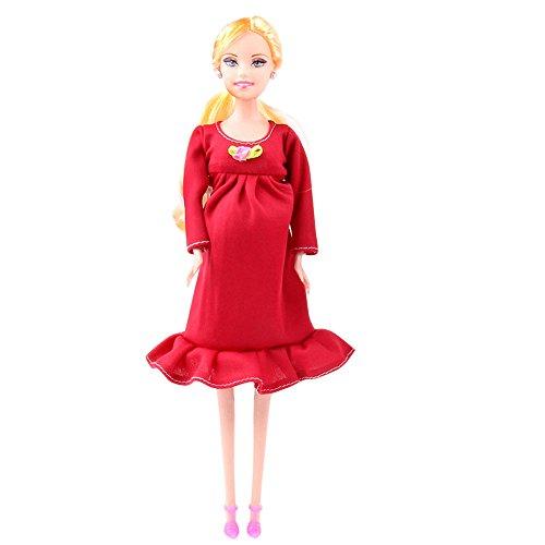 Giocattoli per mamma e papà e figlia impostati per Barbie Bambola incinta  reale del vestito rosa 664354a9be3
